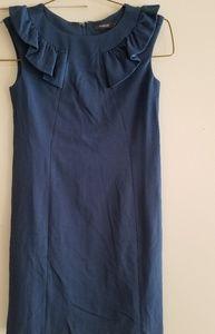Theme Blue sheath dress with ruffle detail M